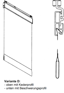 Variante, Saum, Fallstabtasche, Keder Profil